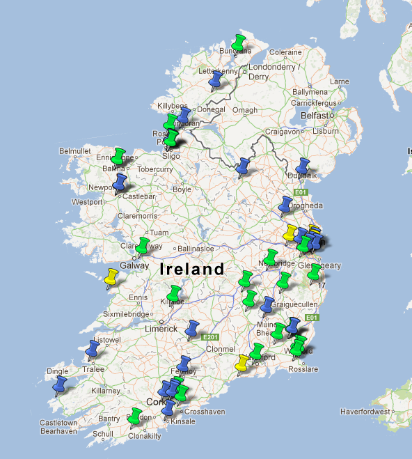 A map of the schools participating in the Seismology for schools project in Ireland.